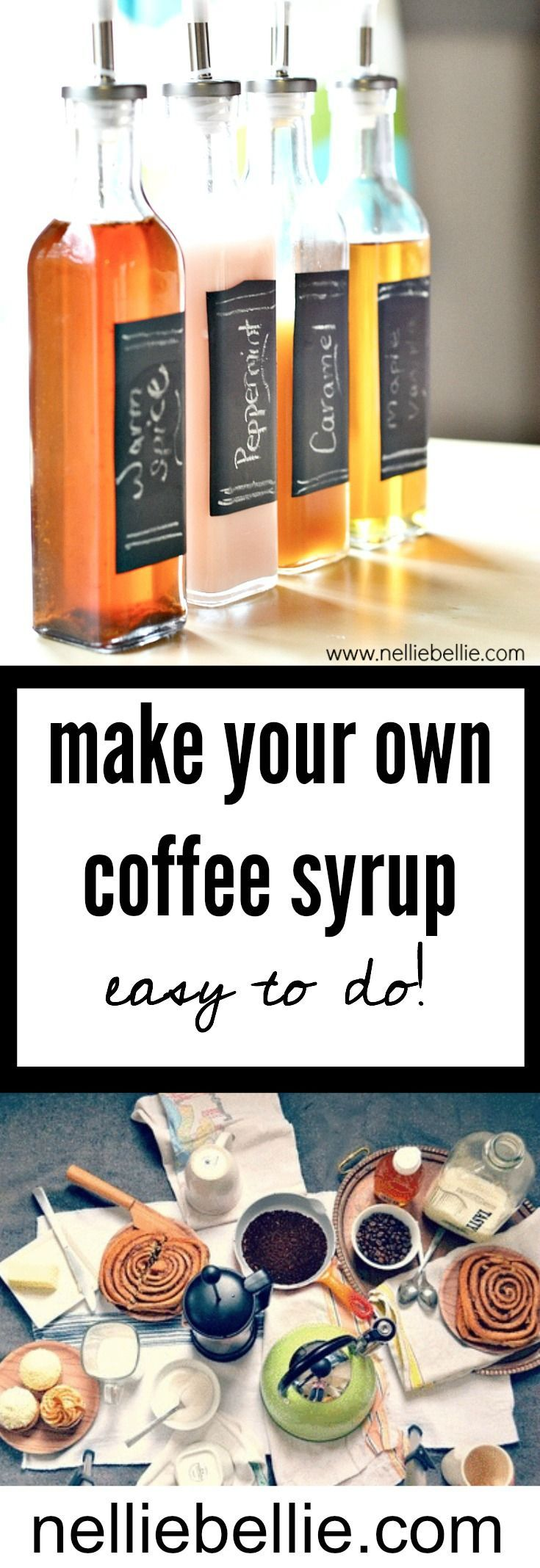 Make your own Coffee Syrup...easy to do!! And customize! This is a great idea to make as hostess gifts or gifts to give to your friends who come over for dinner. http://www.nelliebellie.com/homemade-coffee-syrup-recipes/#_a5y_p=2805342 #coffeebar