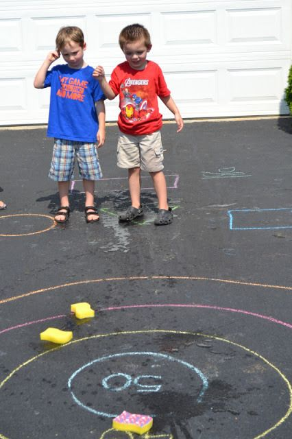 Toss bean bags on chalk rings!