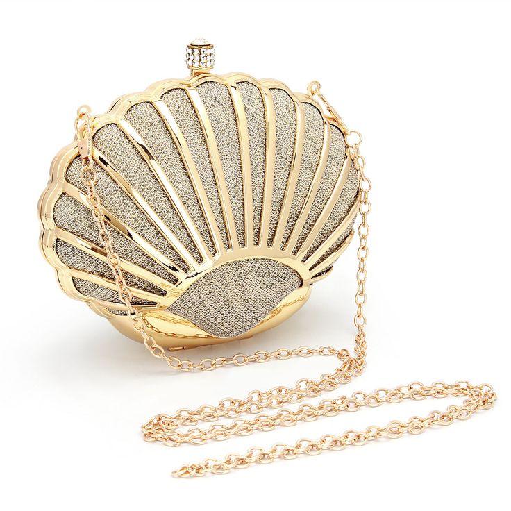 Shell Clutch Bag in Gold Lantejoula - US$29.95 -YOINS