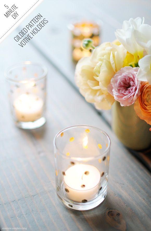 minute diy gilded pattern votive holders diy noël photophores bougies ...