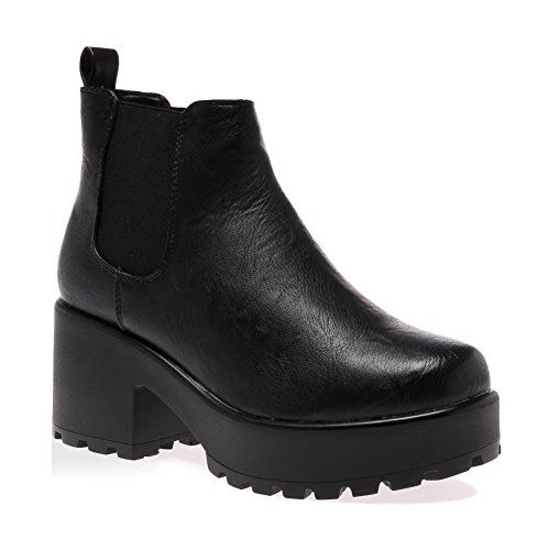 My1stwish Women's Mid Chunky Heel Platform Chelsea Ankle Boots