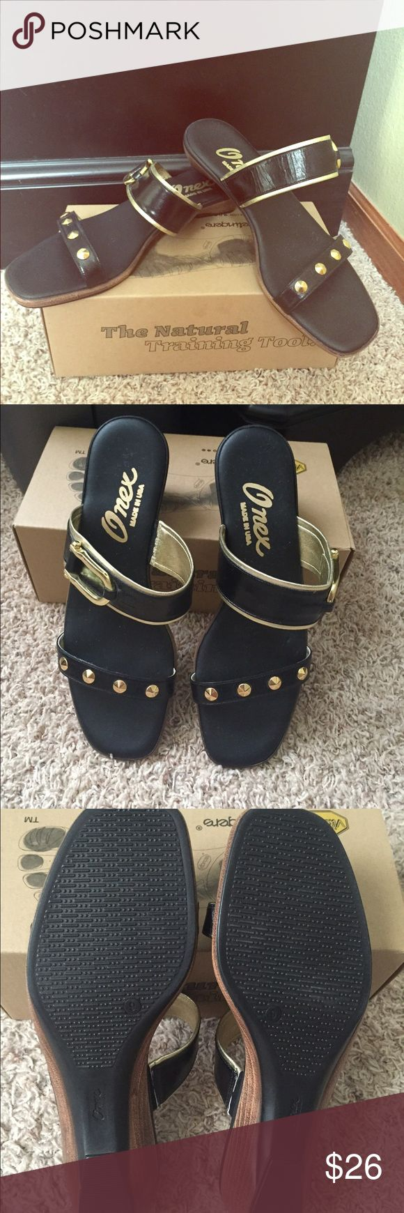 Onex Sandels Quality brand. Made in the USA. Can dress up any casual outfit or dress. Has one small crease on the sole of the left sandal. Onex Shoes Sandals