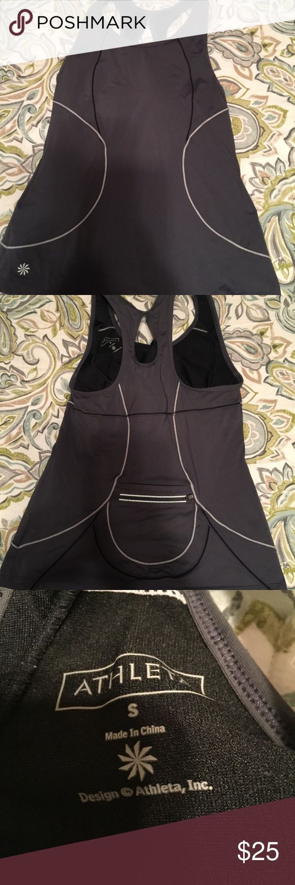 Athleta gray athletic top size small Athleta gray athletic top size small   This is a great athletic top with razor back and zippered back pocket. It is in great shape. Please view all pictures. Athleta Tops Tank Tops
