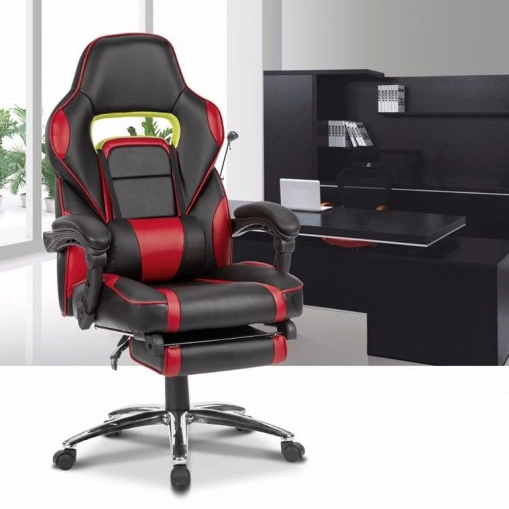 High-Back Faux Leather Racing Reclining Computer Gaming Executive Office Chair #LANGRIA