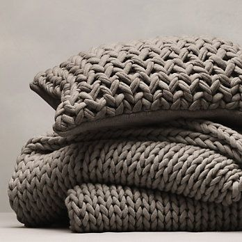 Chunky Hand Knit Throw & Cushion Cover