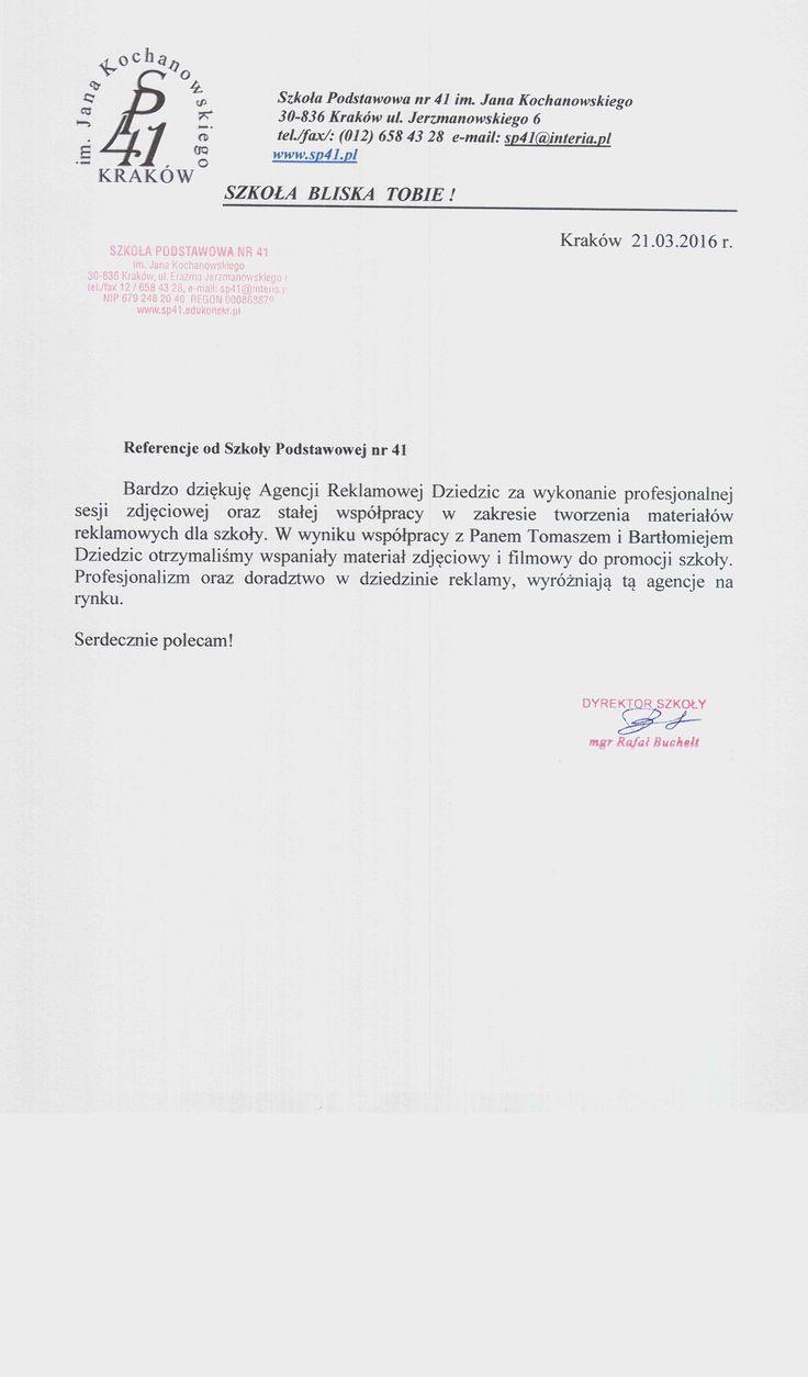 Referencje od Szkoły Podstawowej nr 41 im. Jana Kochanowskiego w Krakowie. Referencje Szkoła Podstawowa nr 41 w Krakowie