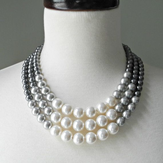 REDUCED: Color Block Triple Decker Necklace - in Gray - 3 Strand Colored Pearl Necklace
