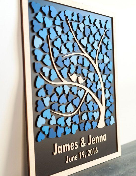 3D bruiloft gast boek alternatief bruiloft boom hout gast boek rustieke bruiloft gastenboek unieke Custom Guest boek boom van harten huwelijksgeschenk