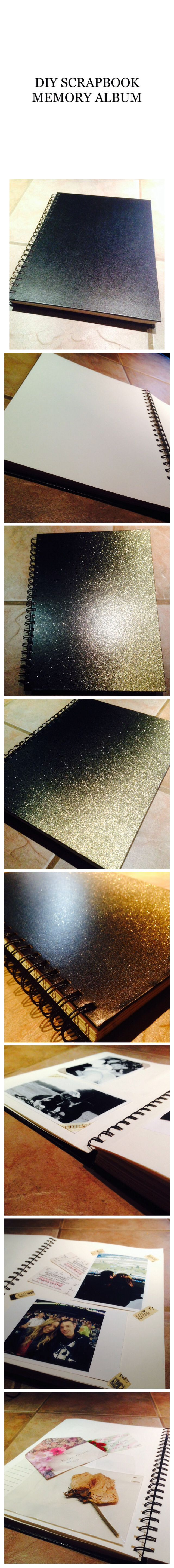 Diy scrapbook / photo memory album. Cost about $10.00 to make ! Super cheap and easy! I just wanted a nice simple memory album that had lots of pages I could add to - without spending a fortune! Picked up a sketchbook from dollaramma for $3 and sprayed gold glitter spray paint in an ombré style.  I used tickets and notes to add a personal touch.  Love how this turned out - definitely making more !