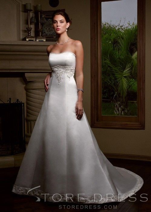 Cute A Line Sweetheart Court Satin Wedding Dress At Storedress