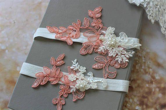 Coral Pink Bridal Garter Wedding Garter Lace garter