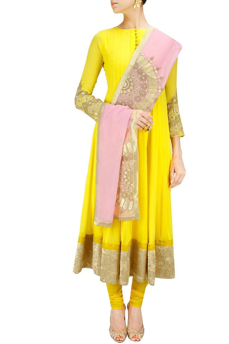 Lemon yellow and blush pink embroidered anarkali set BY NIDHI AGARWAL.
