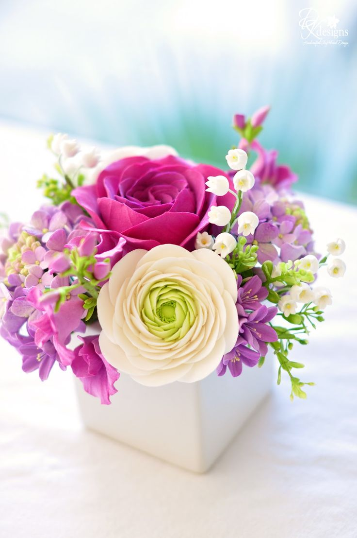 white and purple flower arrangements - Google Search