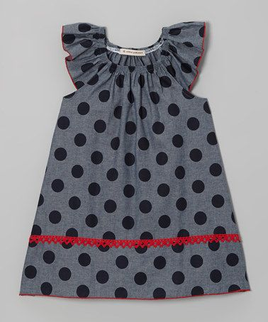 Gray & Navy Polka Dot Angel-Sleeve Dress   Million Polkadots
