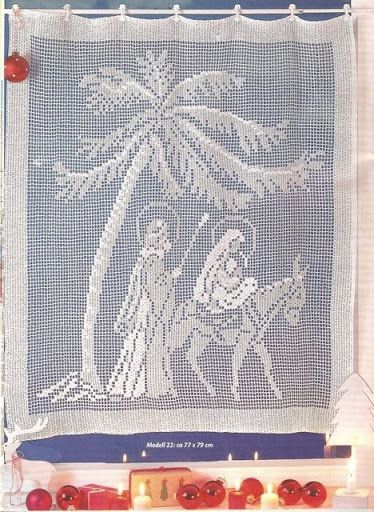 Filet crochet wall hanging. The Virgin Mary and Mary traveling on the back of a donkey. Great for Christmas.