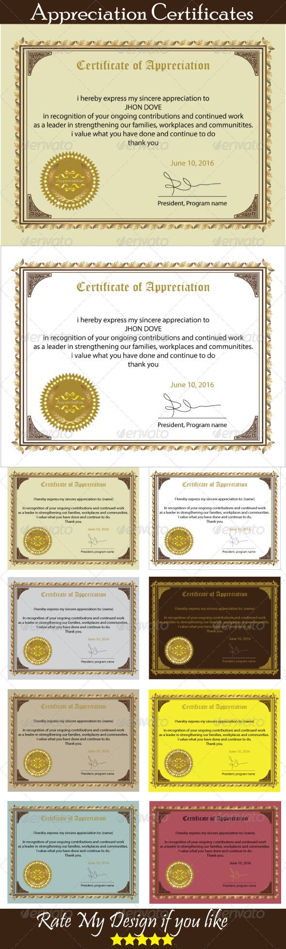#Certificate of #Appreciation - Certificates #Stationery Download here: https://graphicriver.net/item/certificate-of-appreciation/5826355?ref=alena994