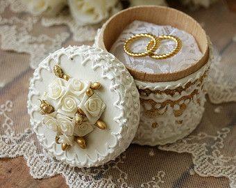 Anillo de boda portador almohada caja anillo de boda por LaivaArt