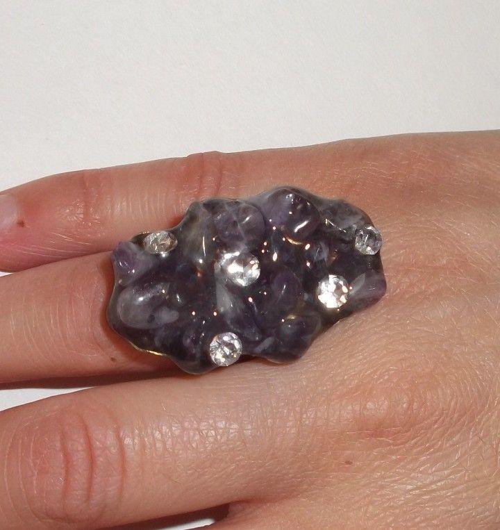σφυρηλατος μπρουτζος αρζαντο αμεθυστος κρυσταλλινα στρας υγρο γυαλι 4Χ2,5 εκ