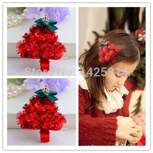 12pcs/lot 3D Christmas tree shape with Crown & Chiffon Bow Girls hairpin Halloween Supplies Headdress Children Hair Accessories #Affiliate