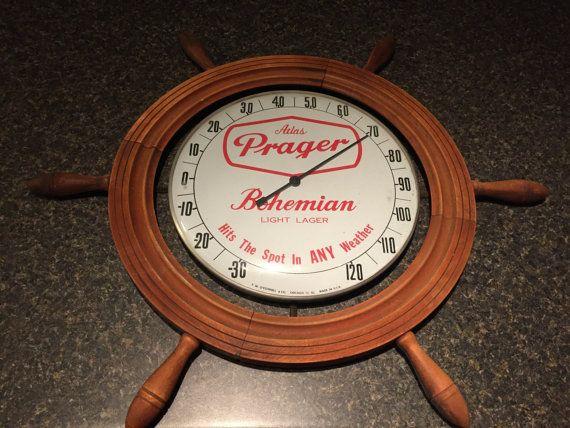 Vintage Atlas Prager Bohemian Beer Thermometer by BpvintageShop