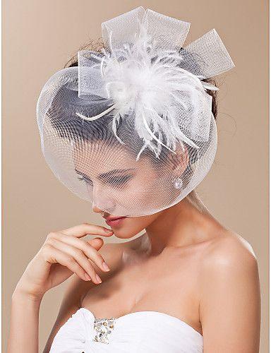 tule lindo com véu de noiva de penas / headpiece - BRL R$ 27,78