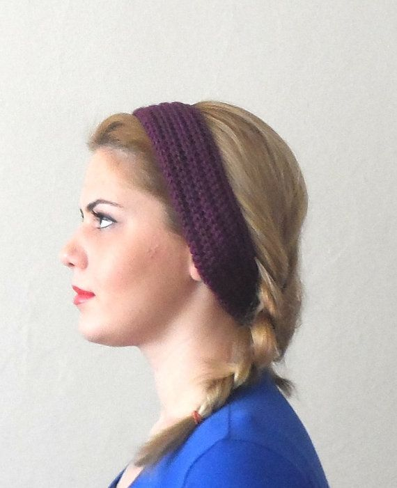 purple knitted headband  buttons purple hair bands knit