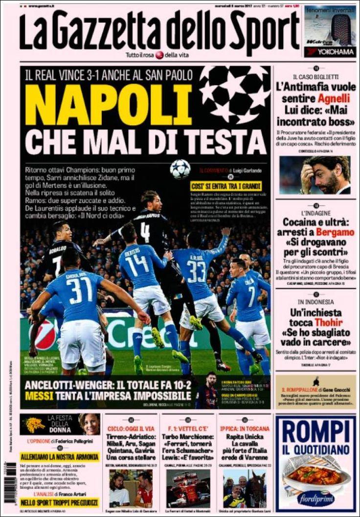 Portada del diario deportivo La Gazzetta dello Sport del 08 de marzo de 2017