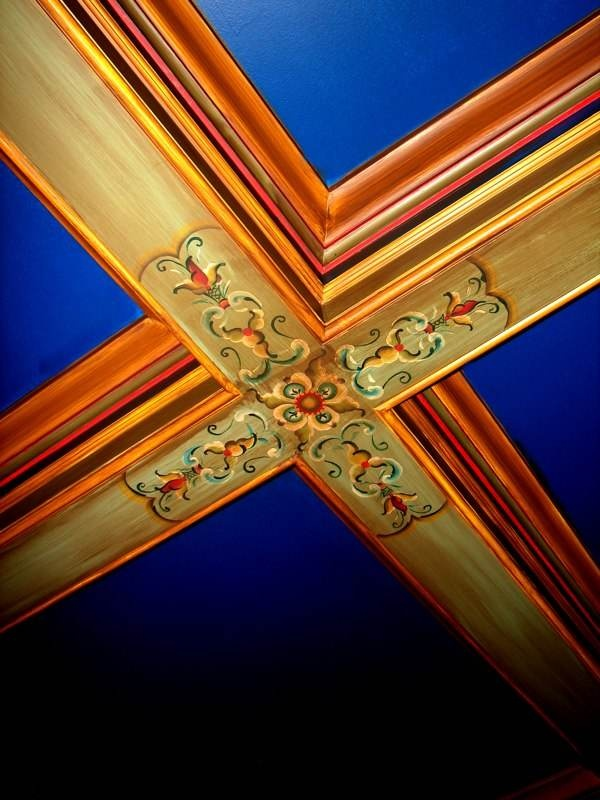 Rosemaling on Coffered Ceiling Beams