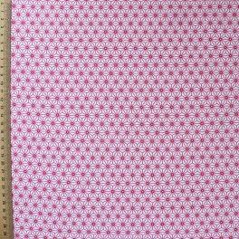 Katoen met acryl coating met roze origami op witte achtergrond