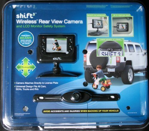 Shift3 Wireless Rear View Camera Includes 2.5-inch color LCD monitor with adjustable docking cradle, a wide-angle camera, 12V DC Car Adaptor, complete installation kit, product manual. 2.5-inch Color LCD monitor with independent brightness and contrast; Adjustable docking cradle pivots in all directions for improved viewing. Adjustable multiple angle camera viewing; Wireless Wide-Angle Camera atta... #Innovage #Sports