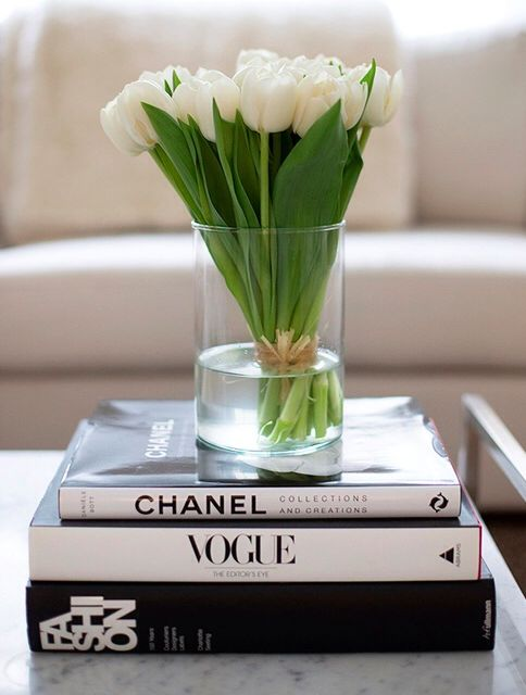 coffee table books with flowers
