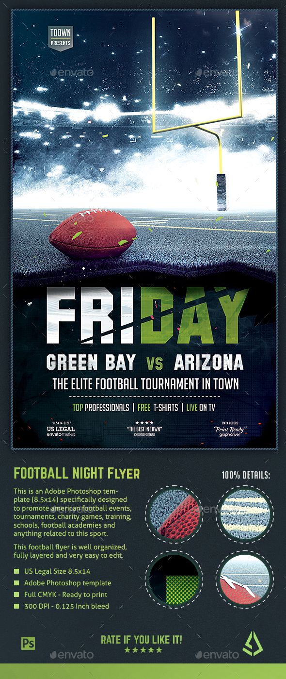 american football flyer football night poster 8 5x14 design
