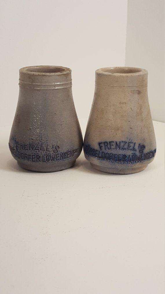 Antique German mustard jar; stoneware; Frenzel's Dusseldorfer Lowensenf