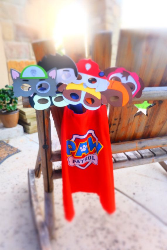 Paw patrol masks - made of felt with an elastic band  Listing includes (1) cape with the OPTION to include a mask: Ryder Chase Skye Marshall Rubble Zuma Rocky  First Class USPS shipping - $3.95 and $0.75 with any additional item  Priority shipping upgrade is available  Interested in individual masks only: https://www.etsy.com/listing/292369779/paw-patrol-felt-masks-paw-patrol  Set of 7 masks: https://www.etsy.com/listing/278856188/set-of-7-paw-patrol-felt-masks-paw?ref=shop_home_active_31…
