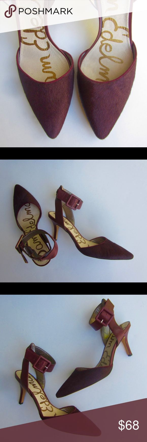 Sam Edelman heels size 8.5 Never worn Sam Edelman heels size 8.5. Real leather & fur that's painted burgundy. They are brand new & in perfect (unworn) condition. No low ball offers. Sam Edelman Shoes Heels