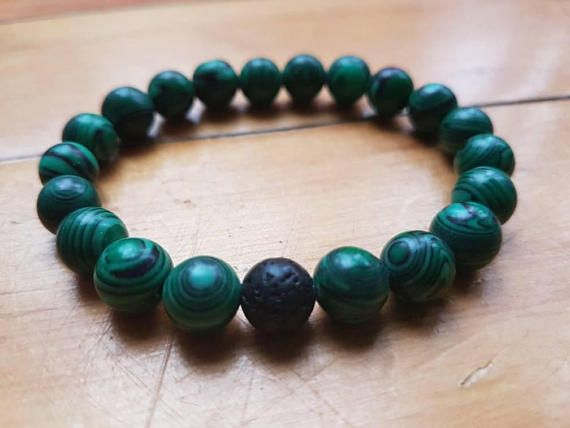 Check out this item in my Etsy shop https://www.etsy.com/ca/listing/572176017/natural-malachite-and-lava-stone