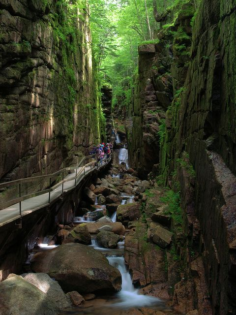 Flume hike in Franconia Notch State Park, New Hampshire, USA (by Mike Cialowicz).