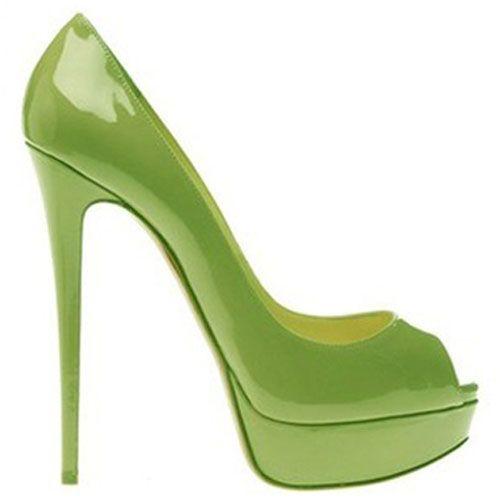 Christian Louboutin Lady Peep-Toe 150mm Pumps Green