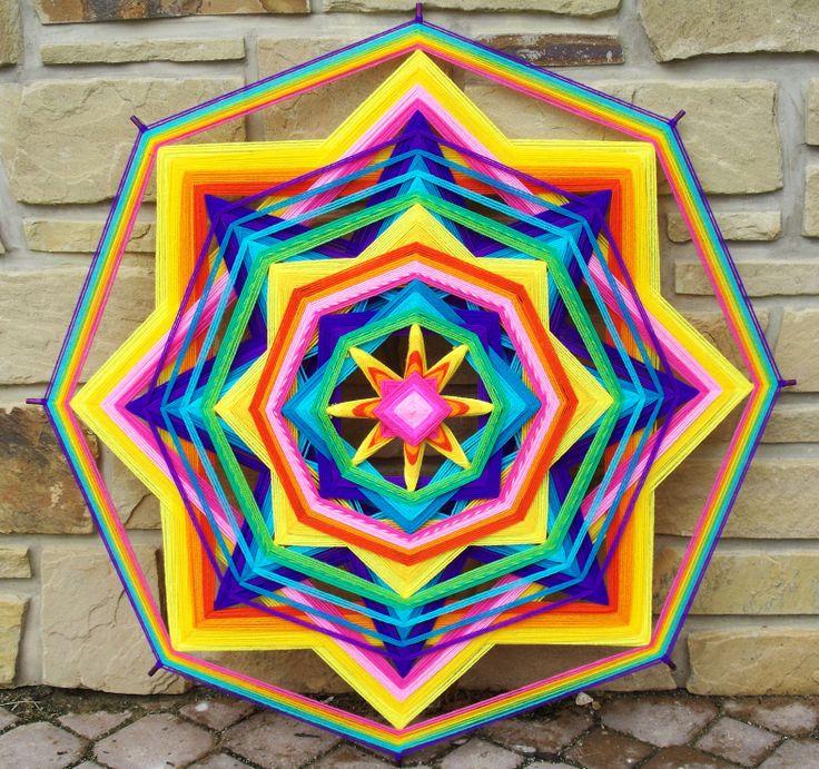 """48"""" Yarn Mandala """"Rainbow Sun"""" by Debra Newman ART"""