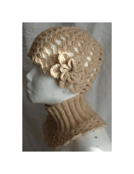 Hat and neck warmer set  knit and crochet warm by MyLaceSpace, $65.00