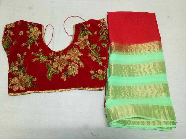 Pure georgette 4 patta 2d krash saree with blouse