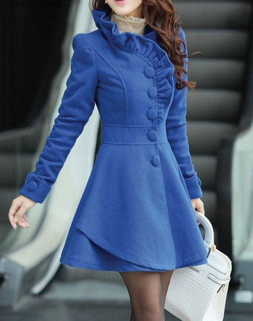 Khaki / Red /Blue wool women coat women dress coat Apring Autumn Winter --CO056. $86.99, via Etsy.