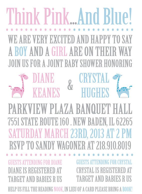 Joint or Twins Baby Shower Invitation by aftersixdesigns on Etsy