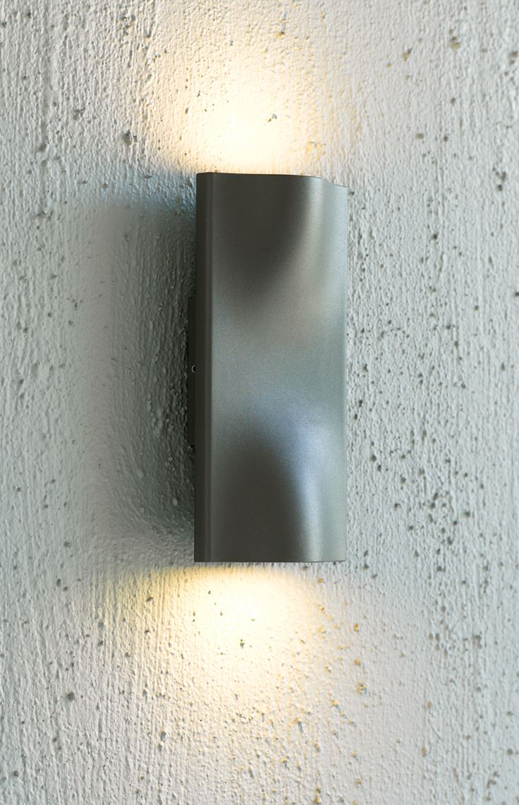 LEDlux Macedon exterior up/down charcoal aluminium wall light in cool white.