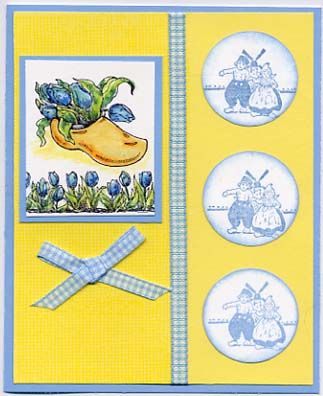 Netherlands by Stampin Up-in yellow and blue, gingham ribbon, watercolor pencils.