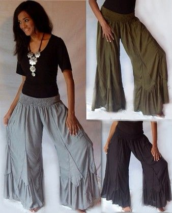 Scallop Hem Chiffon Bloomer Lagenlook Pants