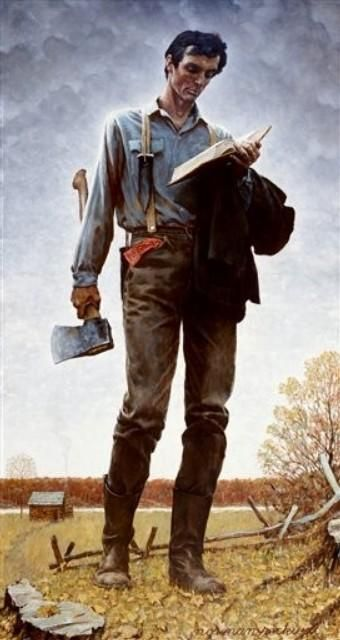"""NORMAN ROCKWELL """"Abe Lincoln Railsplitter""""1974. I love this picture.: Artists, Abraham Lincoln, Railings Splitter, Norman Rockwell, American Art, Book, Abed Lincoln, Honest Abed, Paintings"""