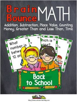 Newly Revised! Our Brain Bounce game is a great math game that helps your kiddos practice addition, subtraction,telling time, place value, and money. This great back to school math game is one of our new Brain Bounce games that facilitates ELA and Math skills for your students. You can also use these math game cards in a center, as a scoot game, or as exit tickets. Your kiddos will love the cute back to school graphics on these math game cards!