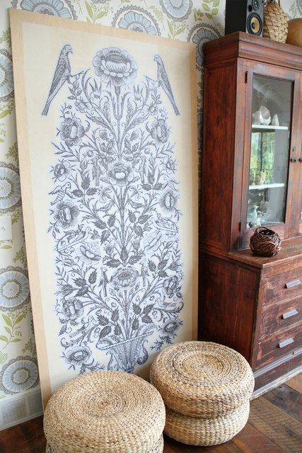 love combo of wicker and wallpaper