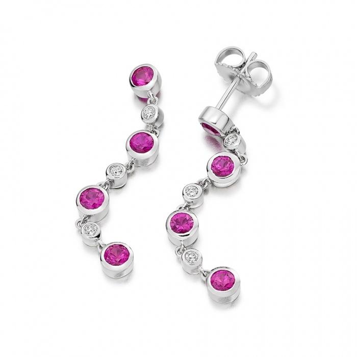 Diamond and Pink Sapphire Drop Earrings in 18k White Gold #DiamondManufacturers  #Diamonds #Sapphires